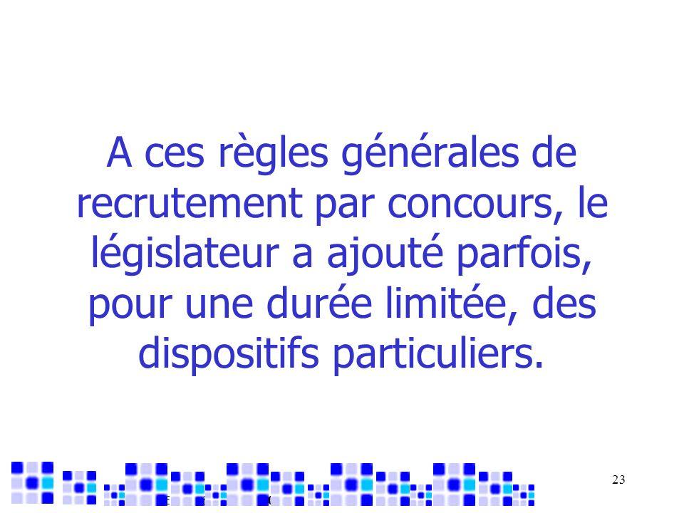 AMUE – DSER – mai 2007 23 A ces règles générales de recrutement par concours, le législateur a ajouté parfois, pour une durée limitée, des dispositifs