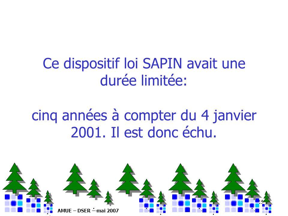 AMUE – DSER – mai 2007 25 Ce dispositif loi SAPIN avait une durée limitée: cinq années à compter du 4 janvier 2001. Il est donc échu.................