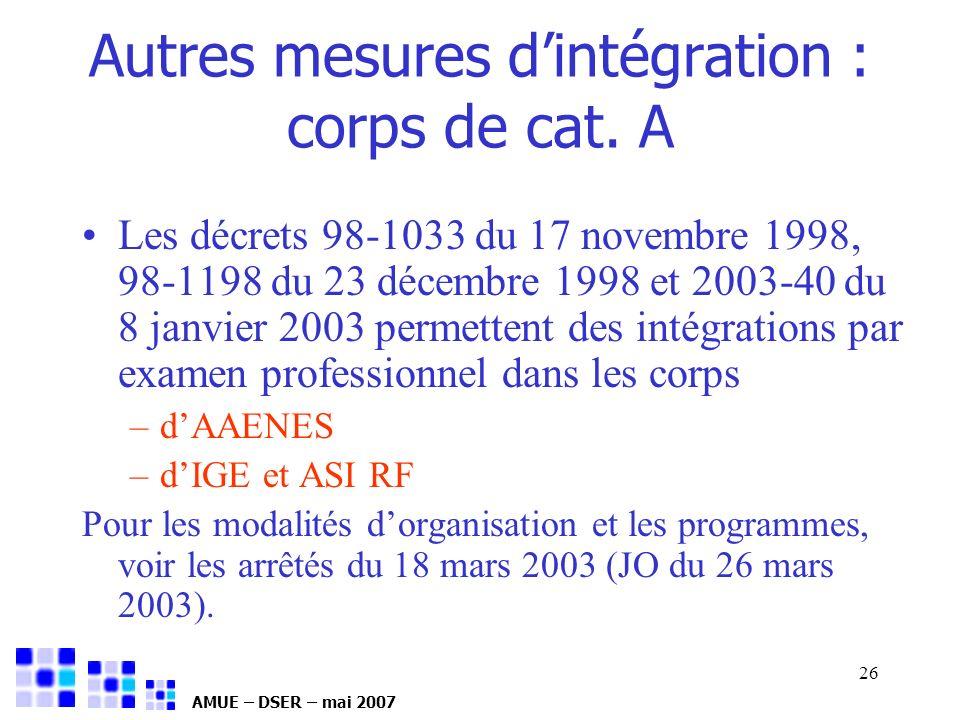 AMUE – DSER – mai 2007 26 Autres mesures dintégration : corps de cat. A Les décrets 98-1033 du 17 novembre 1998, 98-1198 du 23 décembre 1998 et 2003-4