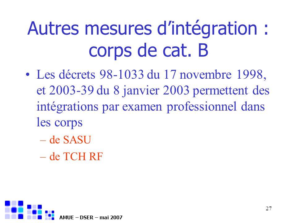 AMUE – DSER – mai 2007 27 Les décrets 98-1033 du 17 novembre 1998, et 2003-39 du 8 janvier 2003 permettent des intégrations par examen professionnel d