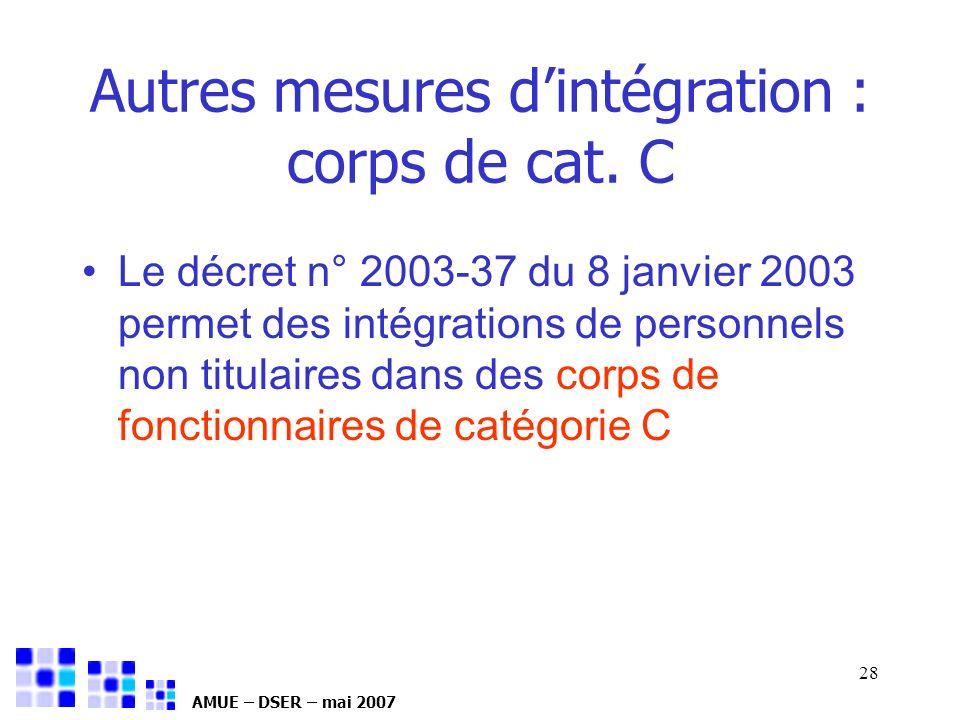 AMUE – DSER – mai 2007 28 Autres mesures dintégration : corps de cat. C Le décret n° 2003-37 du 8 janvier 2003 permet des intégrations de personnels n