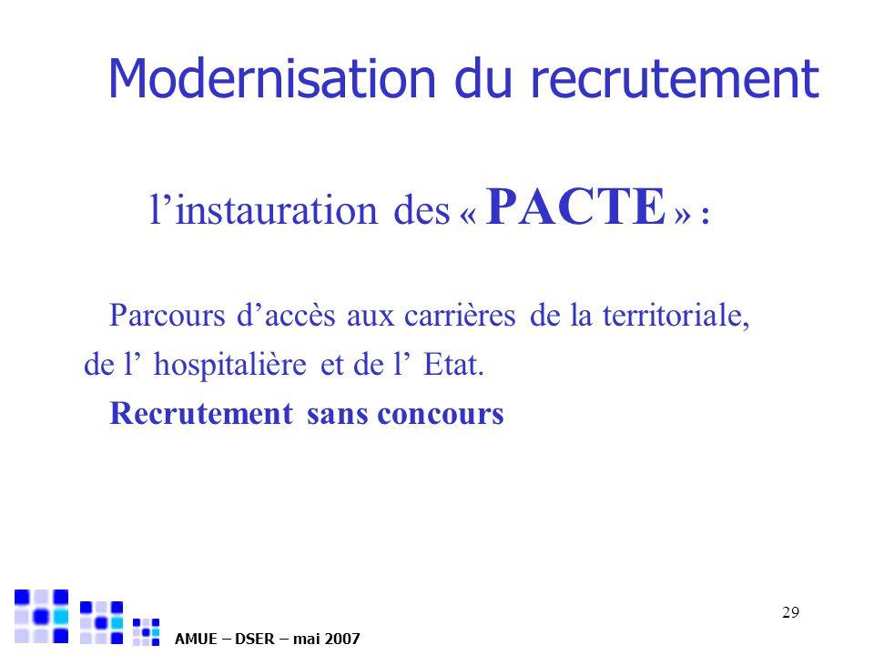 AMUE – DSER – mai 2007 29 Modernisation du recrutement linstauration des « PACTE » : Parcours daccès aux carrières de la territoriale, de l hospitaliè