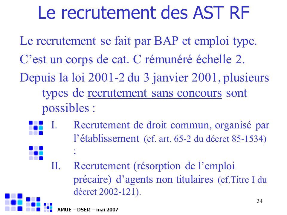 AMUE – DSER – mai 2007 34 Le recrutement des AST RF Le recrutement se fait par BAP et emploi type. Cest un corps de cat. C rémunéré échelle 2. Depuis