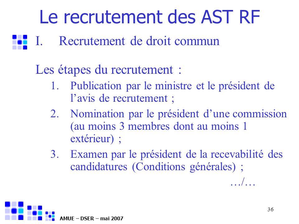 AMUE – DSER – mai 2007 36 I.Recrutement de droit commun Les étapes du recrutement : 1.Publication par le ministre et le président de lavis de recrutem
