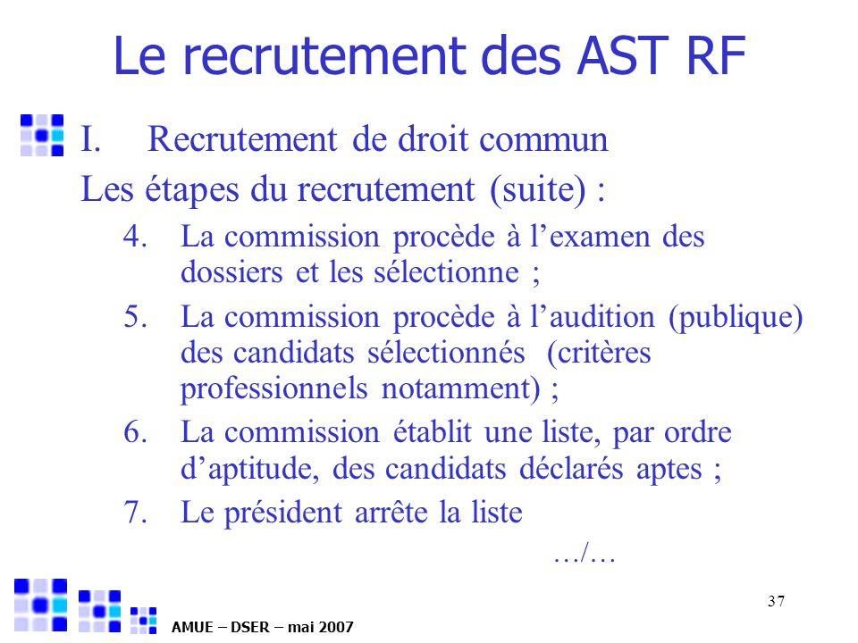 AMUE – DSER – mai 2007 37 I.Recrutement de droit commun Les étapes du recrutement (suite) : 4.La commission procède à lexamen des dossiers et les séle