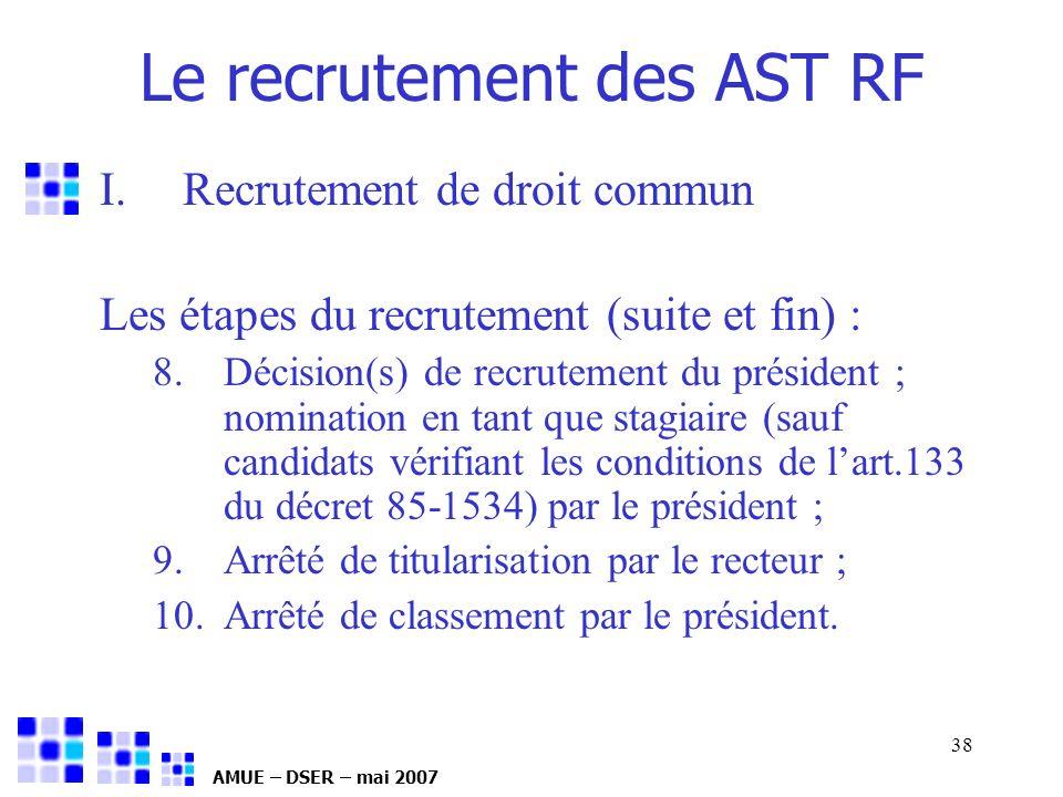 AMUE – DSER – mai 2007 38 I.Recrutement de droit commun Les étapes du recrutement (suite et fin) : 8.Décision(s) de recrutement du président ; nominat