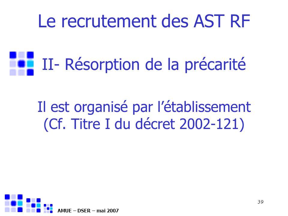 AMUE – DSER – mai 2007 39 Il est organisé par létablissement (Cf. Titre I du décret 2002-121) II- Résorption de la précarité Le recrutement des AST RF