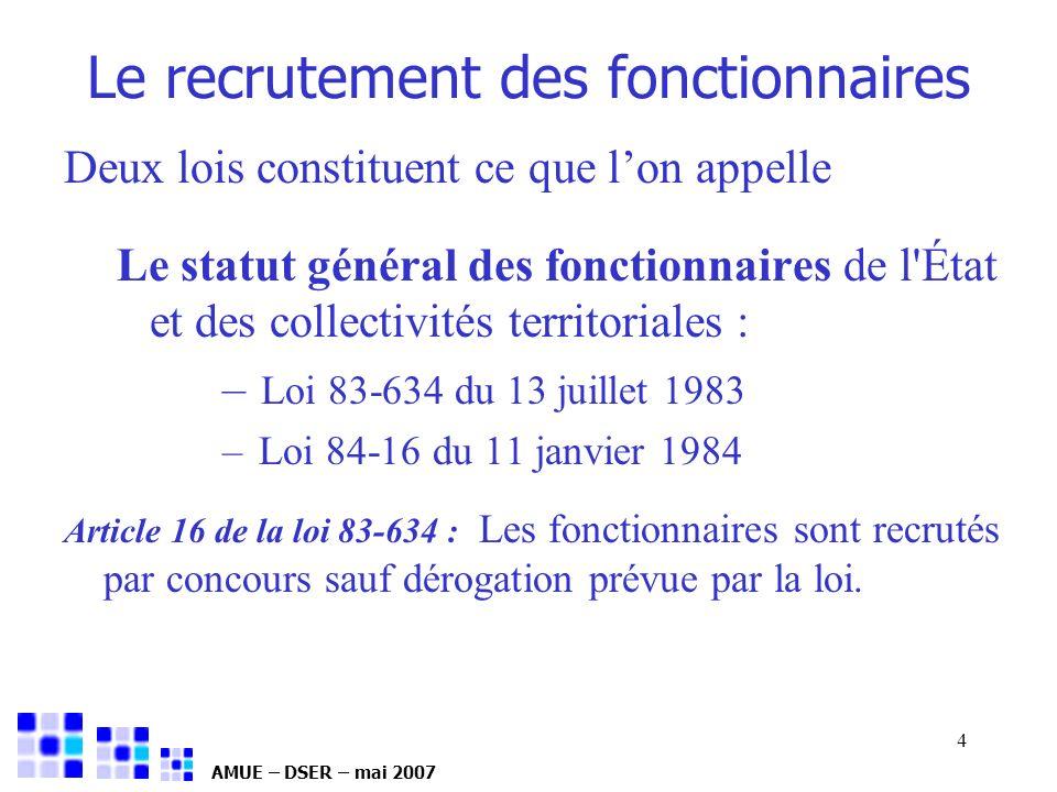 AMUE – DSER – mai 2007 4 Le recrutement des fonctionnaires Deux lois constituent ce que lon appelle Le statut général des fonctionnaires de l'État et