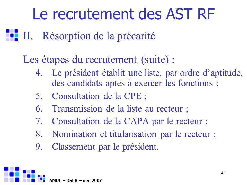 AMUE – DSER – mai 2007 41 II.Résorption de la précarité Les étapes du recrutement (suite) : 4.Le président établit une liste, par ordre daptitude, des