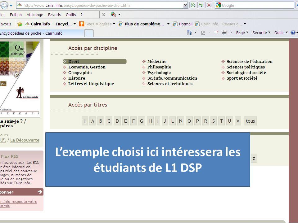 Lexemple choisi ici intéressera les étudiants de L1 DSP