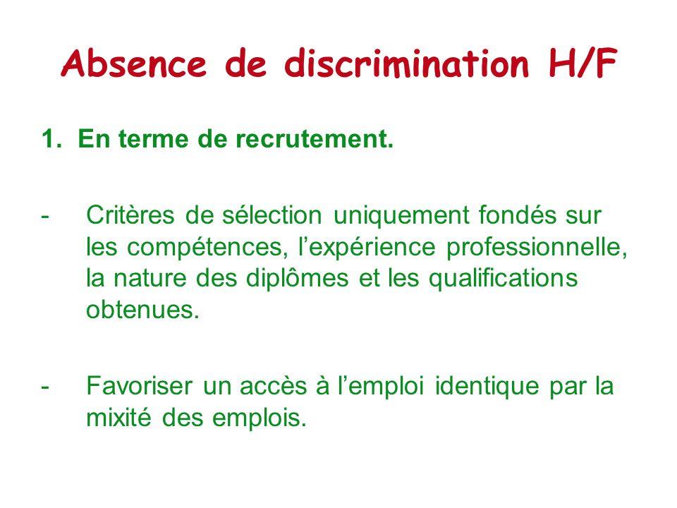 Absence de discrimination H/F 2.En terme de rémunération.