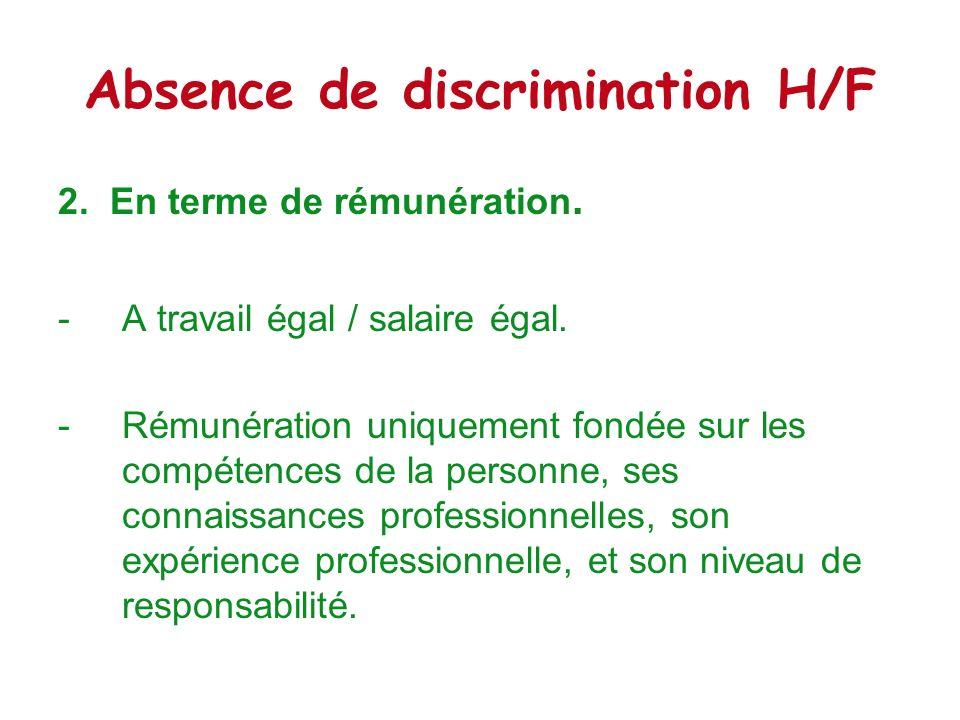 Absence de discrimination H/F 3.En terme de formation et de promotion.