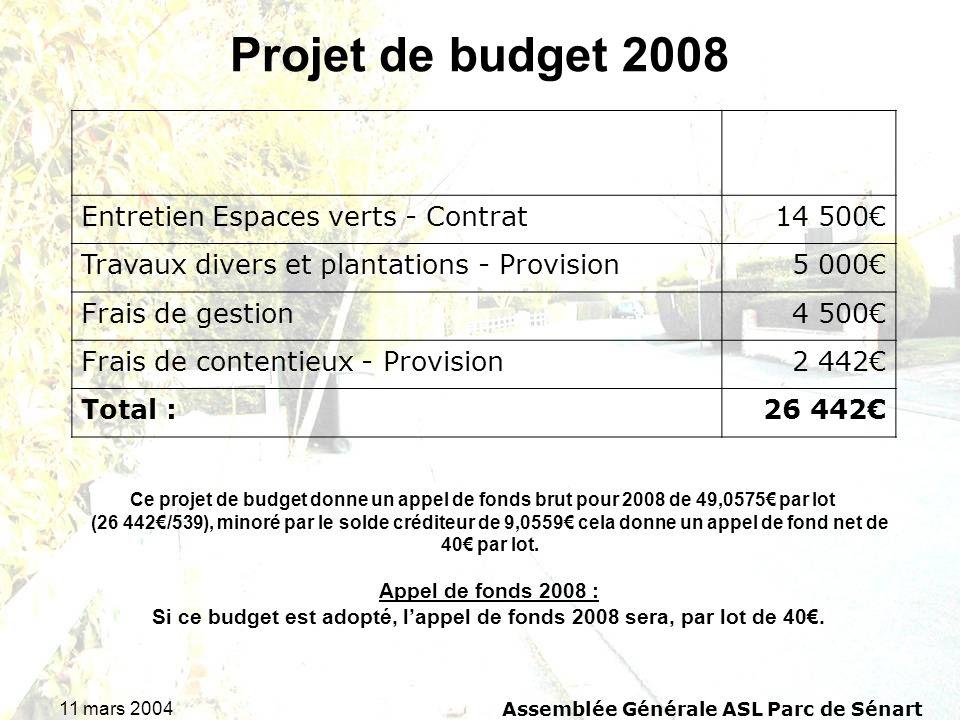 11 mars 2004Assemblée Générale ASL Parc de Sénart Projet de budget 2008 Ce projet de budget donne un appel de fonds brut pour 2008 de 49,0575 par lot