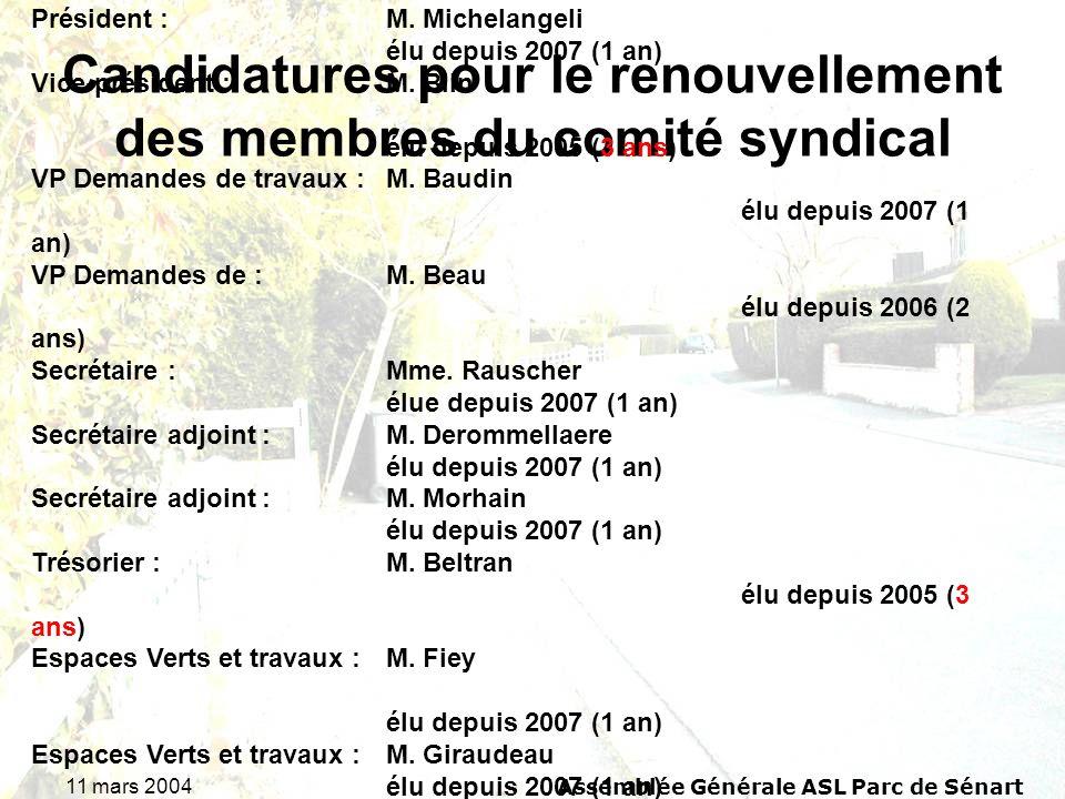 11 mars 2004Assemblée Générale ASL Parc de Sénart Candidatures pour le renouvellement des membres du comité syndical Rappel du comité syndical 2007 :