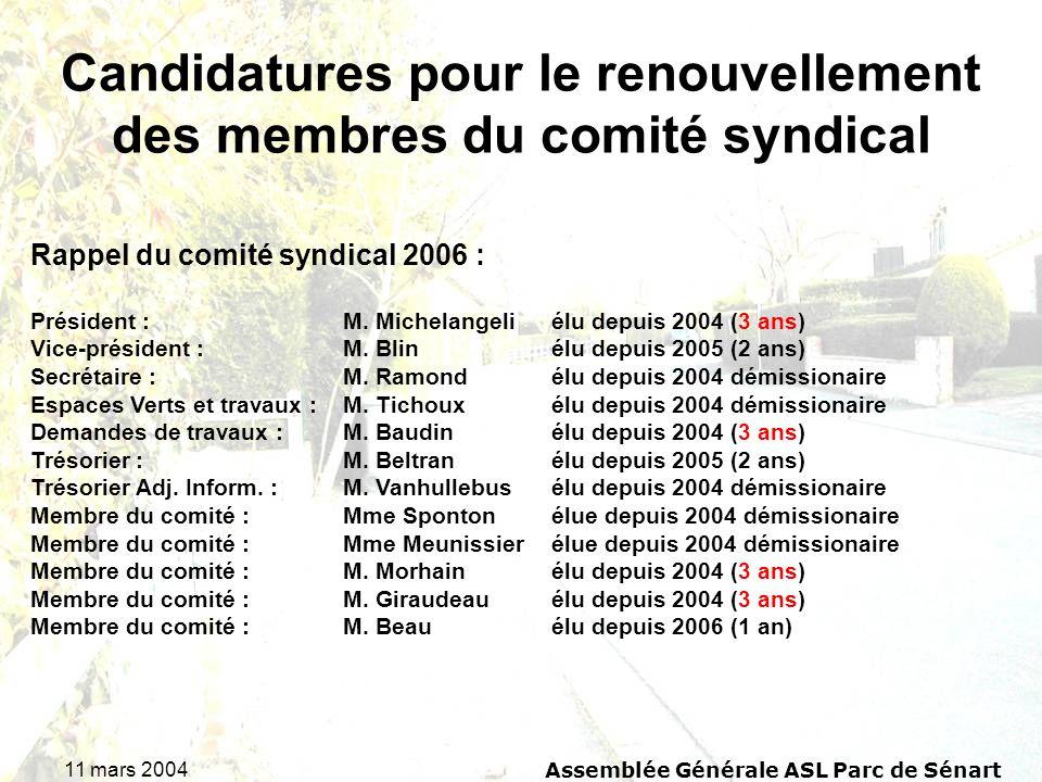 11 mars 2004Assemblée Générale ASL Parc de Sénart Candidatures pour le renouvellement des membres du comité syndical Rappel du comité syndical 2006 : Président : M.
