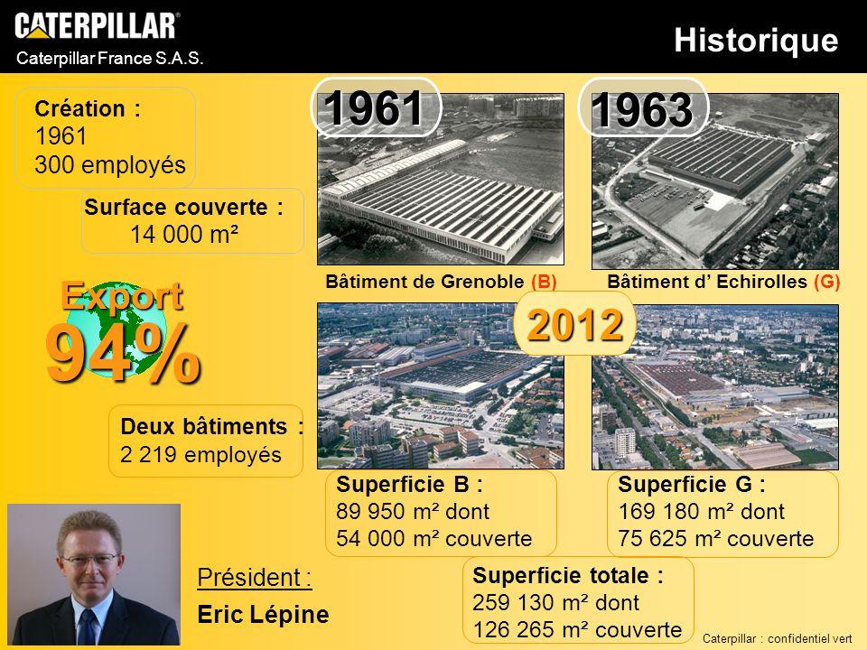 Caterpillar France S.A.S. Deux bâtiments : 2 219 employés Création : 1961 300 employés Surface couverte : 14 000 m² Président : Eric Lépine Export 94%