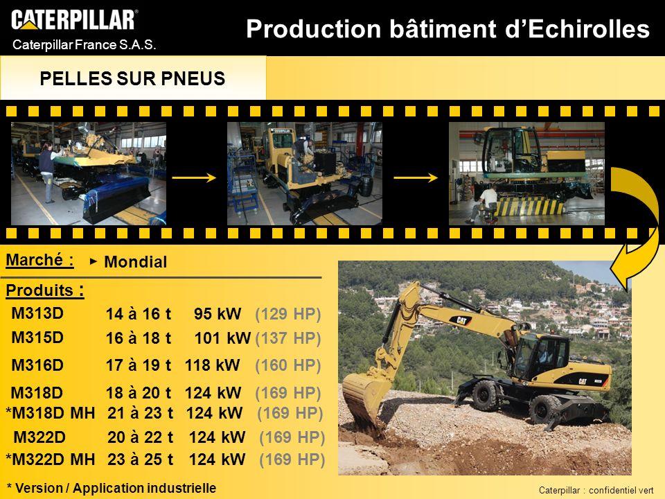 Caterpillar France S.A.S. M313D 14 à 16 t95 kW(129 HP) M315D 16 à 18 t101 kW(137 HP) M316D 17 à 19 t118 kW(160 HP) Marché : Mondial Produits : M318D *