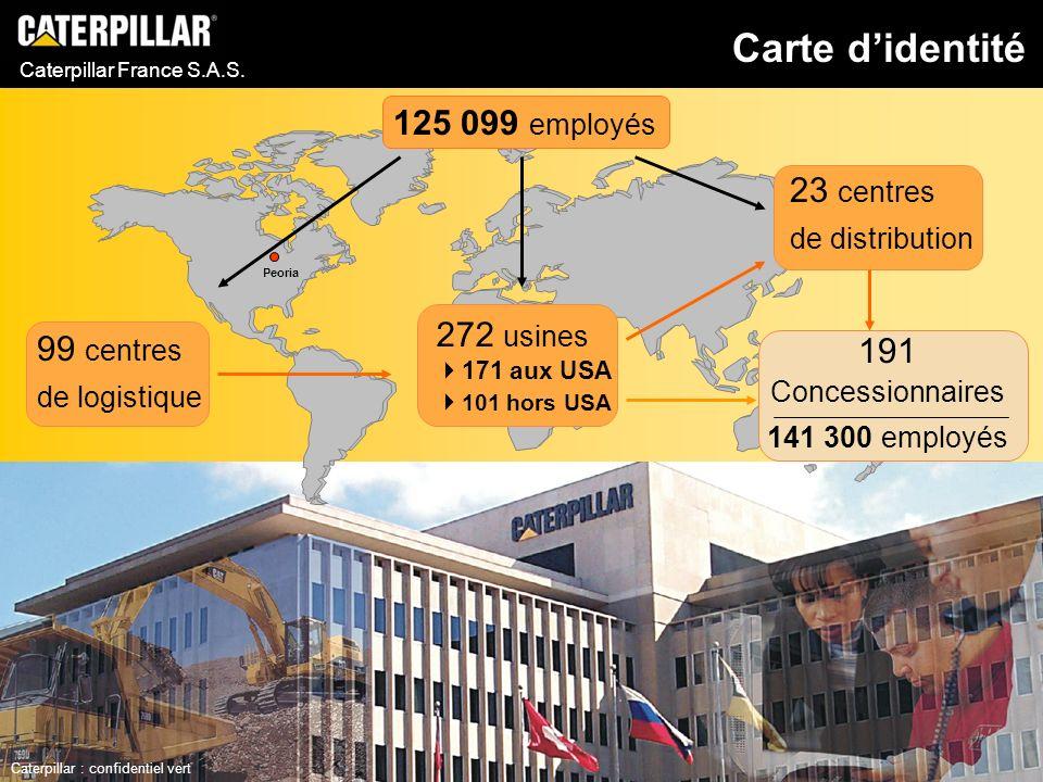 Caterpillar France S.A.S. 125 099 employés 99 centres de logistique 23 centres de distribution 272 usines 171 aux USA 101 hors USA Peoria Carte dident