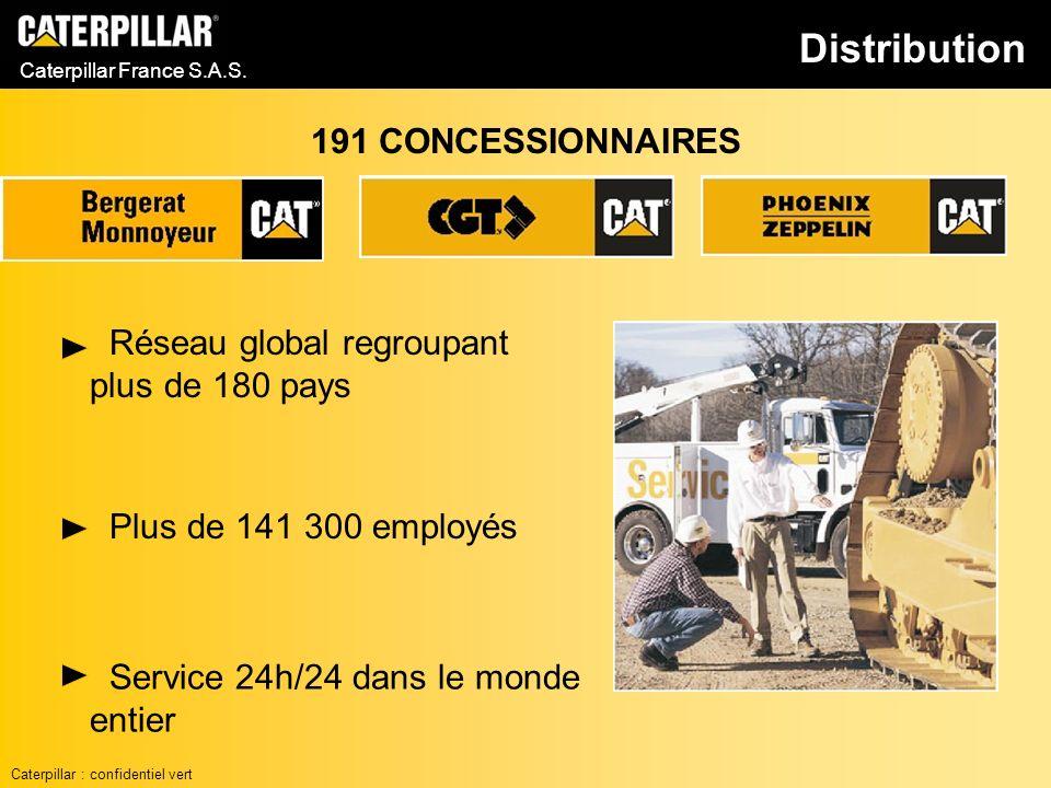 Caterpillar France S.A.S. Réseau global regroupant plus de 180 pays 191 CONCESSIONNAIRES Service 24h/24 dans le monde entier Plus de 141 300 employés