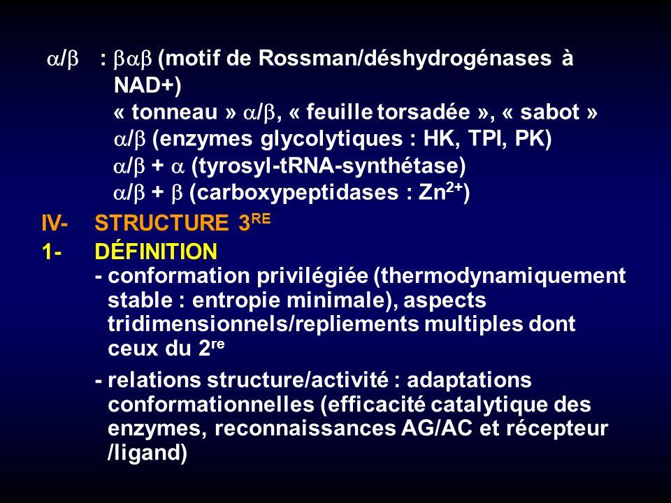 IV-STRUCTURE 3 RE 1-DÉFINITION -conformation privilégiée (thermodynamiquement stable : entropie minimale), aspects tridimensionnels/repliements multip