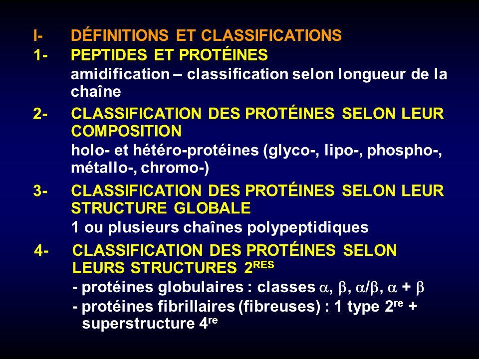 I-DÉFINITIONS ET CLASSIFICATIONS 1-PEPTIDES ET PROTÉINES amidification – classification selon longueur de la chaîne 2-CLASSIFICATION DES PROTÉINES SEL