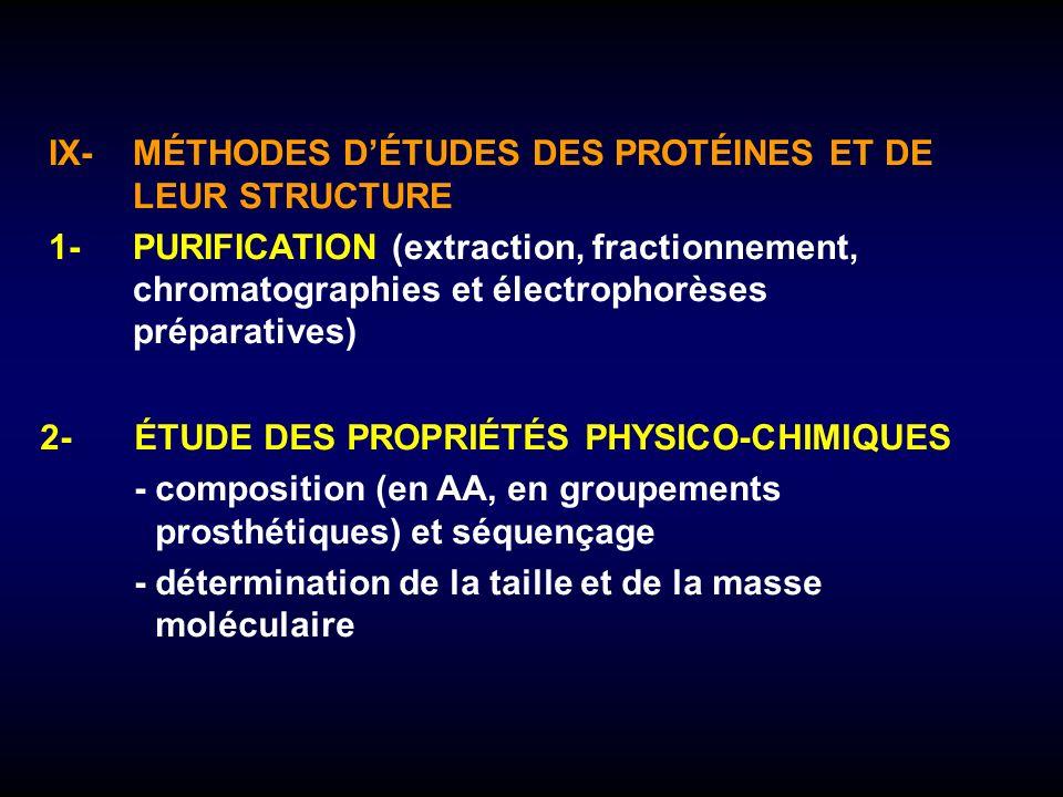 IX-MÉTHODES DÉTUDES DES PROTÉINES ET DE LEUR STRUCTURE 1-PURIFICATION (extraction, fractionnement, chromatographies et électrophorèses préparatives) 2