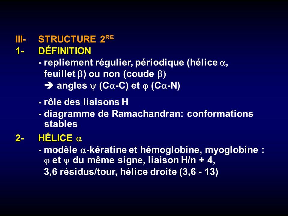 III-STRUCTURE 2 RE 1-DÉFINITION -repliement régulier, périodique (hélice, feuillet ) ou non (coude ) angles (C -C) et (C -N) -rôle des liaisons H -dia