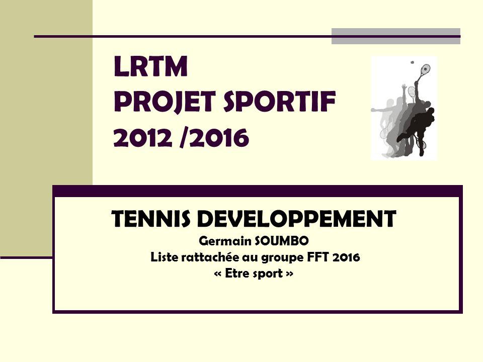 LRTM PROJET SPORTIF 2012 /2016 TENNIS DEVELOPPEMENT Germain SOUMBO Liste rattachée au groupe FFT 2016 « Etre sport »
