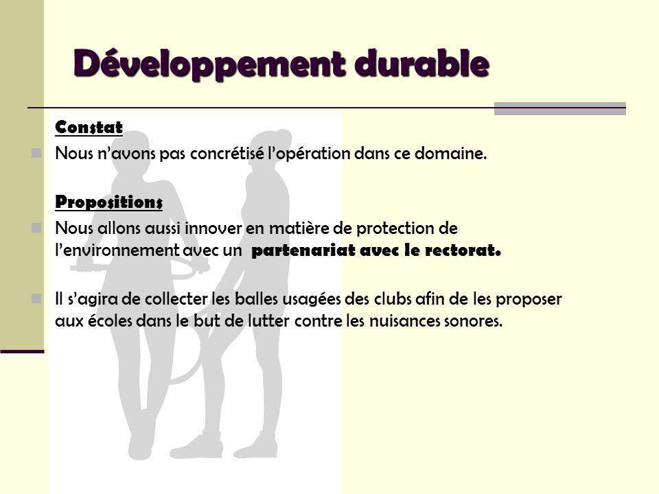 Développement durable Constat Nous navons pas concrétisé lopération dans ce domaine. Propositions Nous allons aussi innover en matière de protection d