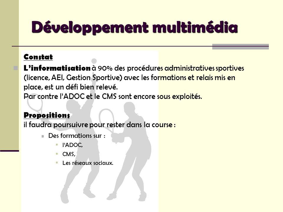 Développement multimédia Constat Propositions Linformatisation à 90% des procédures administratives sportives (licence, AEI, Gestion Sportive) avec le
