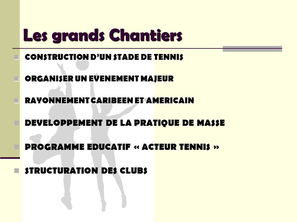 Les grands Chantiers CONSTRUCTION DUN STADE DE TENNIS CONSTRUCTION DUN STADE DE TENNIS ORGANISER UN EVENEMENT MAJEUR ORGANISER UN EVENEMENT MAJEUR RAY