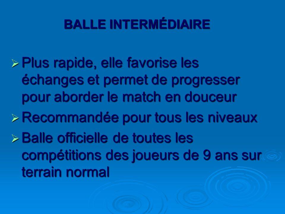 BALLE INTERMÉDIAIRE Plus rapide, elle favorise les échanges et permet de progresser pour aborder le match en douceur Plus rapide, elle favorise les éc
