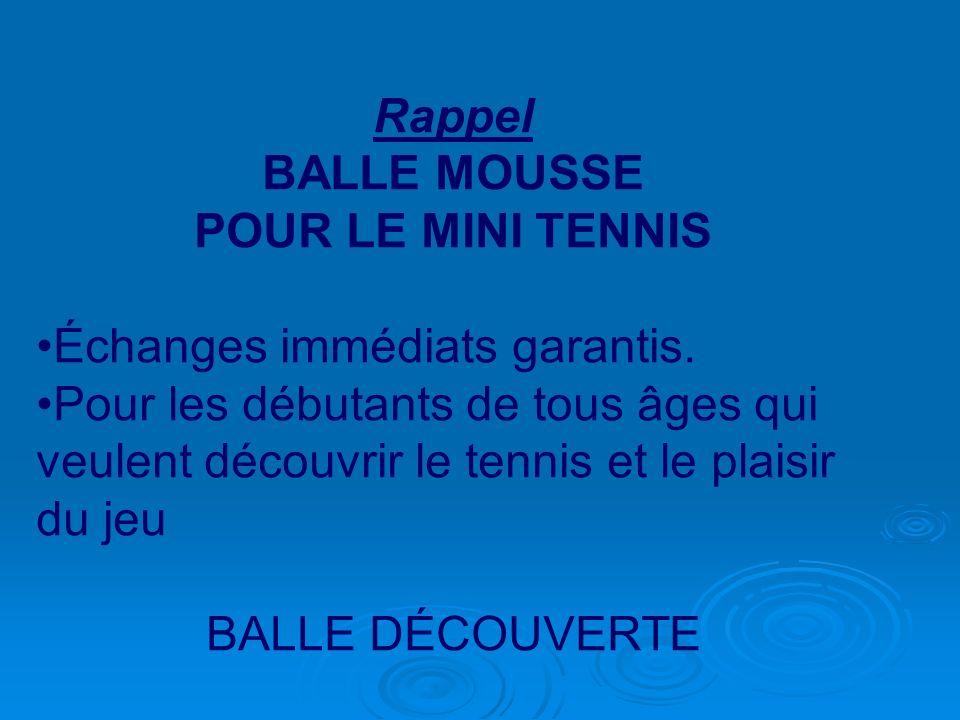 Rappel BALLE MOUSSE POUR LE MINI TENNIS Échanges immédiats garantis. Pour les débutants de tous âges qui veulent découvrir le tennis et le plaisir du