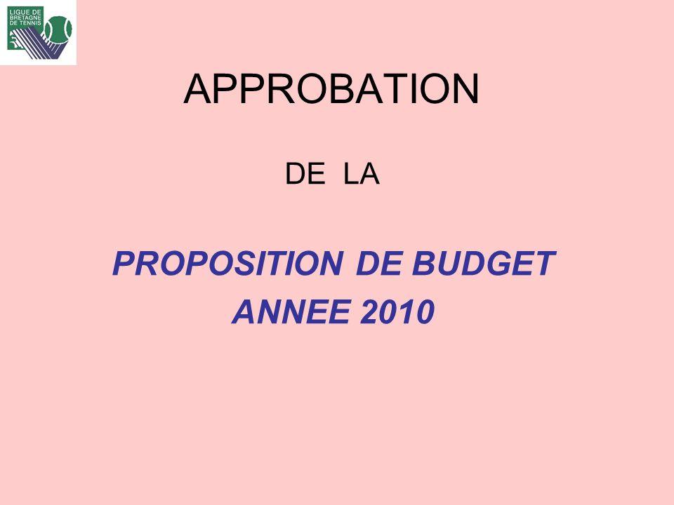 APPROBATION DE LA PROPOSITION DE BUDGET ANNEE 2010