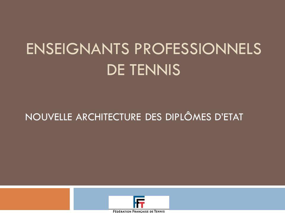 ENSEIGNANTS PROFESSIONNELS DE TENNIS NOUVELLE ARCHITECTURE DES DIPLÔMES DETAT