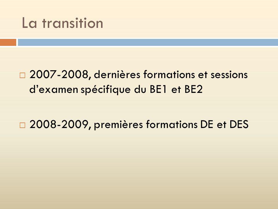 La transition 2007-2008, dernières formations et sessions dexamen spécifique du BE1 et BE2 2008-2009, premières formations DE et DES