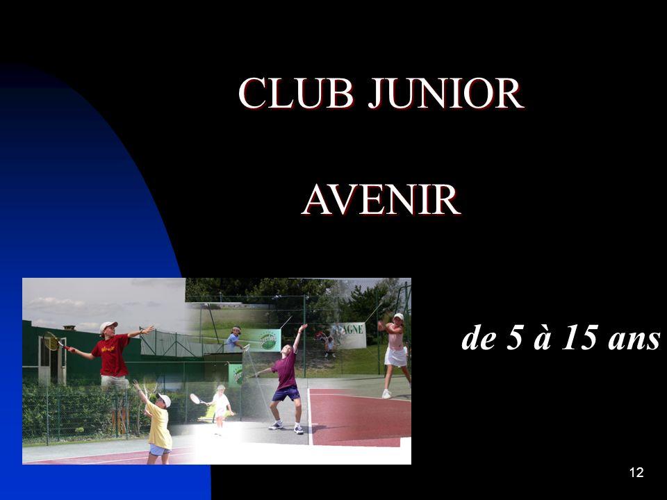11 CLUB AVEC BE CLUB AVEC INITIATEURS LE MINI TENNIS BE OBLIGATOIRE et Et son équipe pédagogique Initiateurs 1 er et 2 ème Degré ESSENTIEL LE CLUB JUN