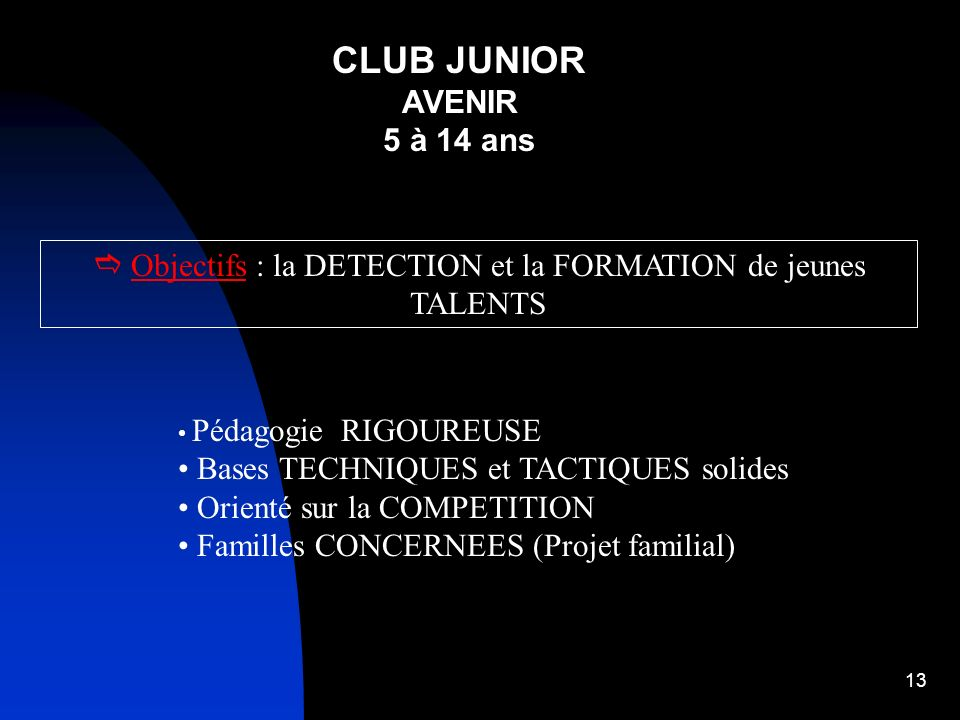 12 CLUB JUNIOR AVENIR de 5 à 15 ans