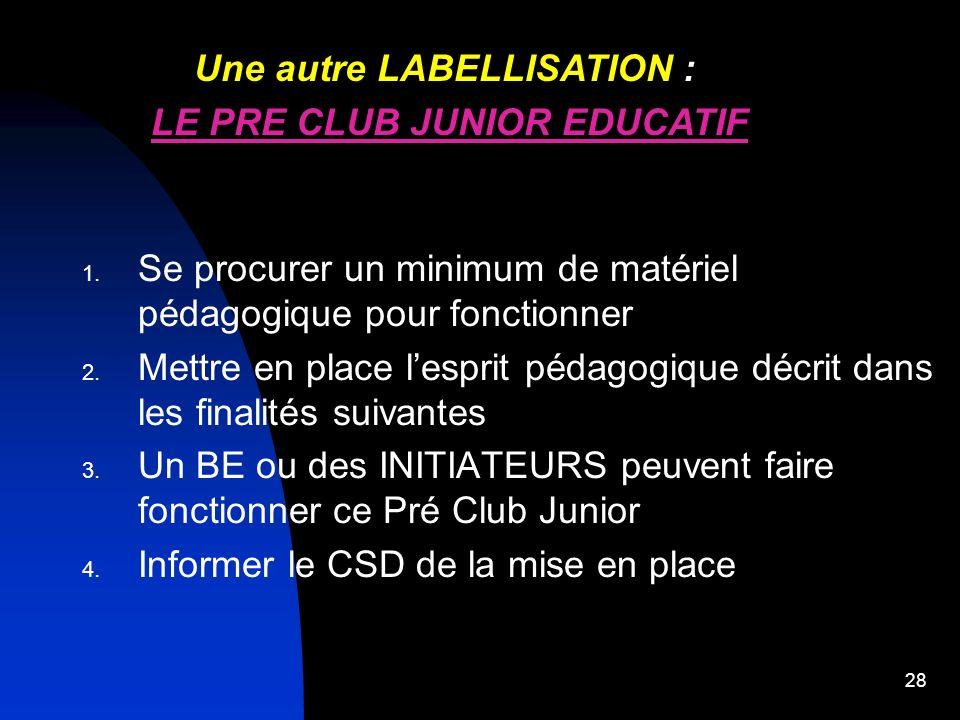 27 1 seule direction dans ce club junior EDUCATIF de 5 à 18 ans, mais 2 labellisations au choix : Une LABELLISATION : CLUB JUNIOR EDUCATIF par le CTR
