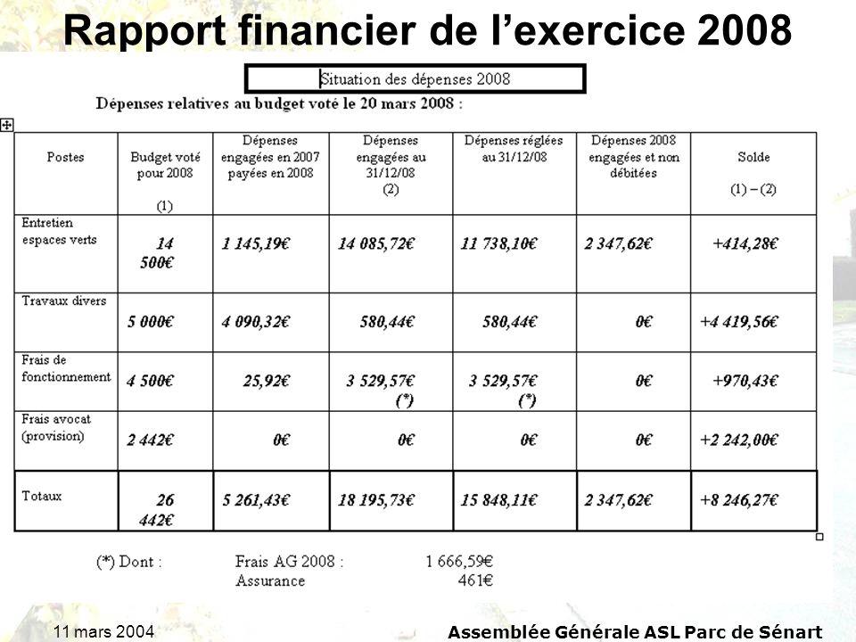 11 mars 2004Assemblée Générale ASL Parc de Sénart Rapport financier de lexercice 2008