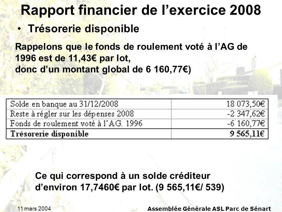 11 mars 2004Assemblée Générale ASL Parc de Sénart Rapport financier de lexercice 2008 Trésorerie disponible Rappelons que le fonds de roulement voté à lAG de 1996 est de 11,43 par lot, donc dun montant global de 6 160,77) Ce qui correspond à un solde créditeur denviron 17,7460 par lot.