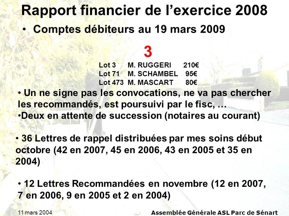 11 mars 2004Assemblée Générale ASL Parc de Sénart Rapport financier de lexercice 2008 Comptes débiteurs au 19 mars 2009 3 Lot 3 M.