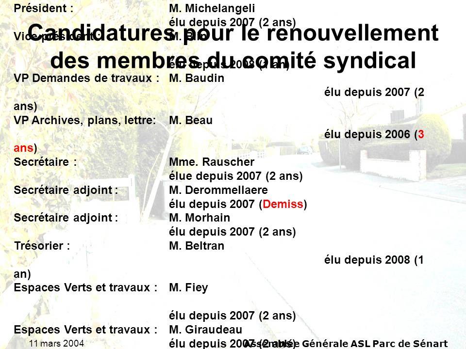 11 mars 2004Assemblée Générale ASL Parc de Sénart Candidatures pour le renouvellement des membres du comité syndical Rappel du comité syndical 2008 : Président : M.