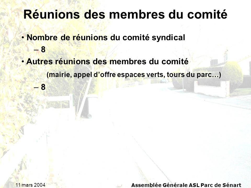 11 mars 2004Assemblée Générale ASL Parc de Sénart Réunions des membres du comité Nombre de réunions du comité syndical – 8 Autres réunions des membres du comité (mairie, appel doffre espaces verts, tours du parc…) – 8