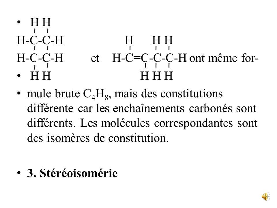 H H H-C-C-H H H H H-C-C-H et H-C=C-C-C-H ont même for- H H H H H mule brute C 4 H 8, mais des constitutions différente car les enchaînements carbonés sont différents.