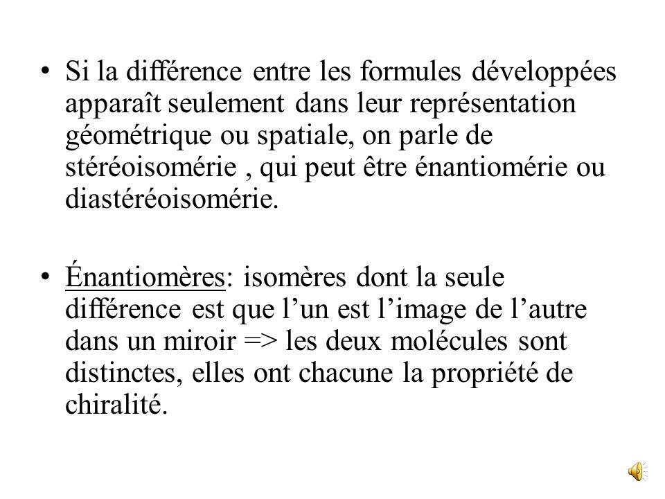 Si la différence entre les formules développées apparaît seulement dans leur représentation géométrique ou spatiale, on parle de stéréoisomérie, qui peut être énantiomérie ou diastéréoisomérie.