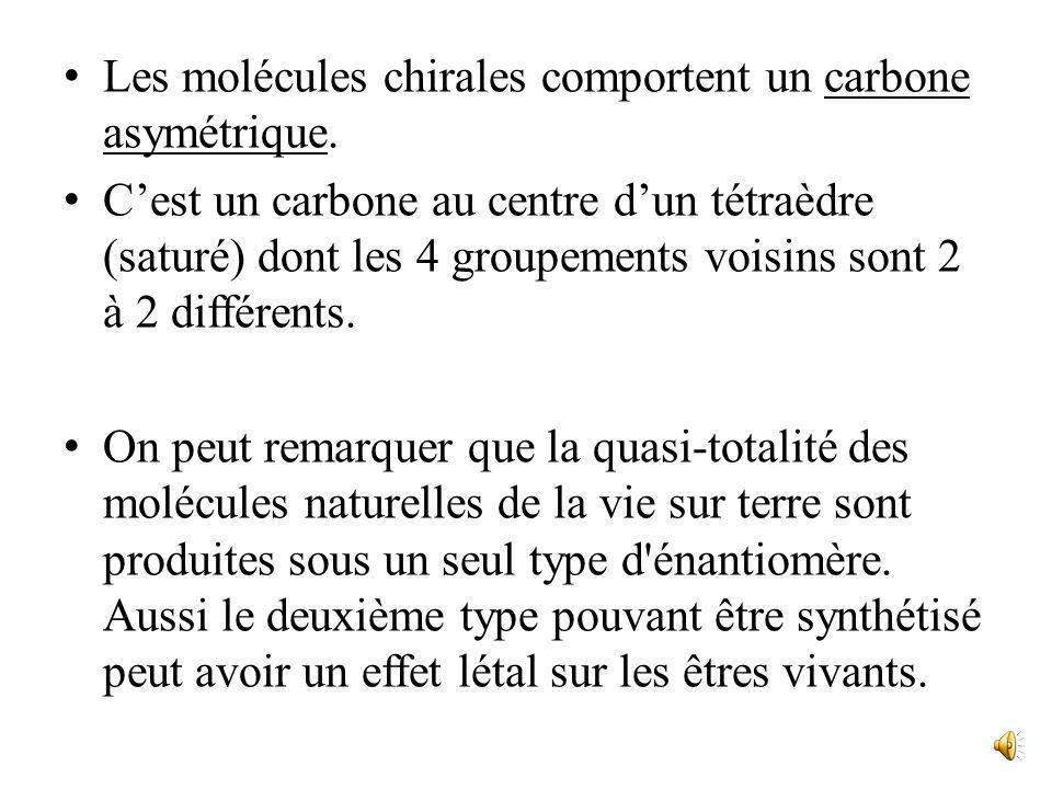 Les molécules chirales comportent un carbone asymétrique.
