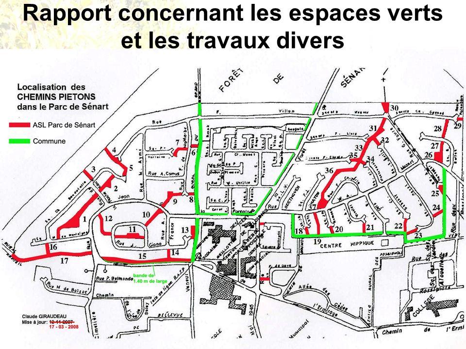 15 mars 2012 Assemblée Générale ASL Parc de Sénart Rapport concernant les espaces verts et les travaux divers