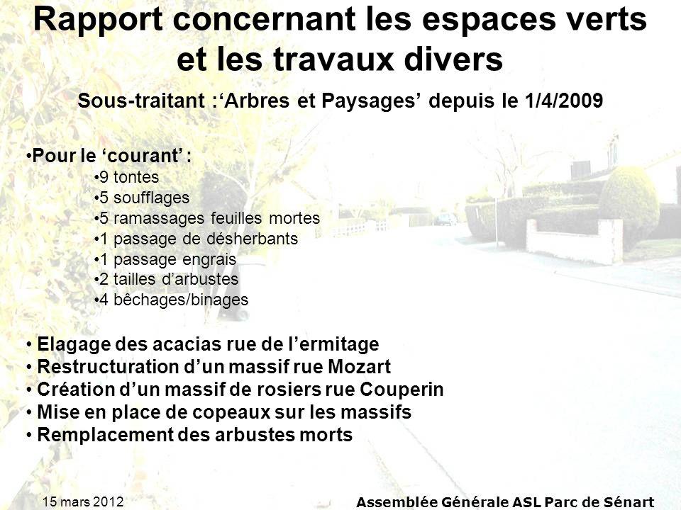 15 mars 2012 Assemblée Générale ASL Parc de Sénart Rapport concernant les espaces verts et les travaux divers Sous-traitant :Arbres et Paysages depuis