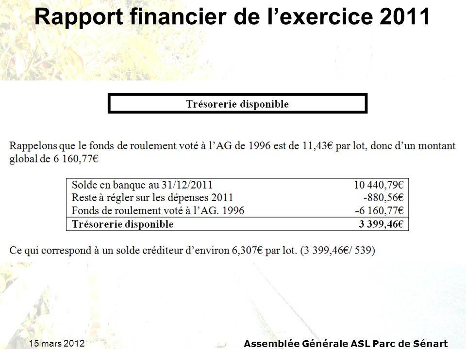 15 mars 2012 Assemblée Générale ASL Parc de Sénart Rapport financier de lexercice 2011
